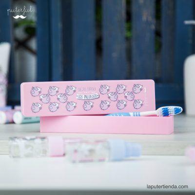 Estuche cepillo de dientes rosa