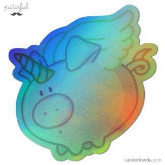 Pegatina holográfica del cerdicornio de Puterful