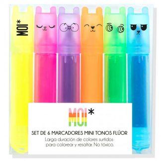 MOI* Set 6 marcadores mini tonos fluor orejitas