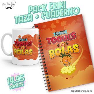 PACK FRIKI - Taza + Cuaderno - No me toquéis las bolas