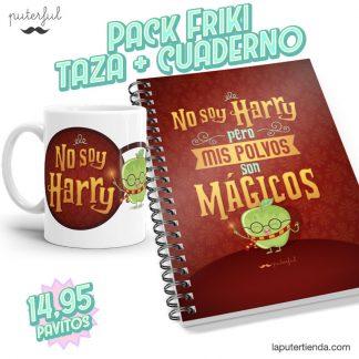PACK FRIKI - Taza + Cuaderno - Mis polvos son mágicos