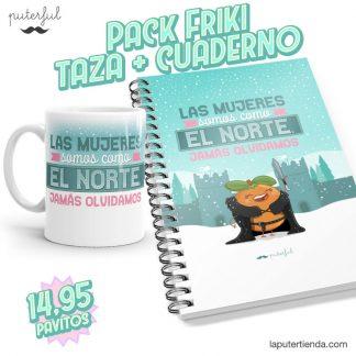 PACK FRIKI - Taza + Cuaderno - Las mujeres somos como el norte