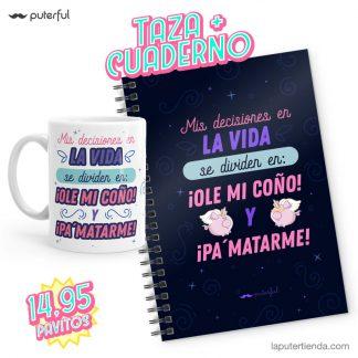 pack Puterful taza y cuaderno mis decisiones en la vida